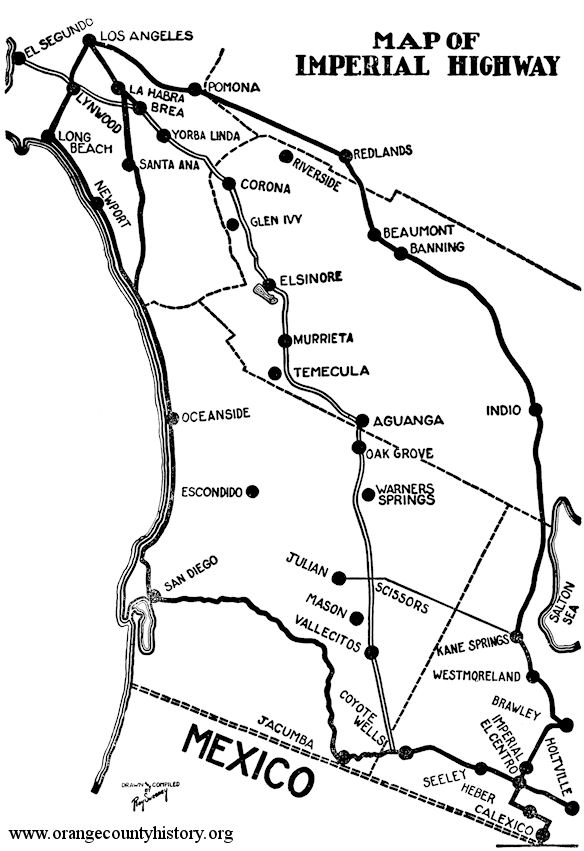 The Imperial Highway – Orange County Historical Society on map of southeast ia, map ohio county, map of cerritos, map of salt river, map of east idaho, map of gold country, map of the inland empire, map of salvation mountain, map of north shore, map of san francisco bay, map of ripley, map nebraska county, map of ocotillo, map of heber, map of silicon valley,